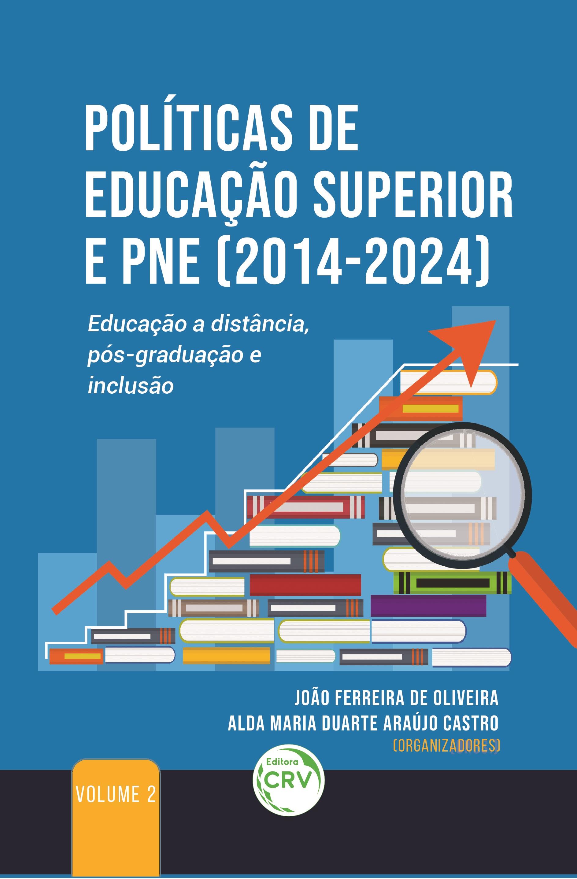 Capa do livro: POLÍTICAS DE EDUCAÇÃO SUPERIOR E PNE (2014-2024): <br>Educação a distância, pós-graduação e inclusão<br> VOLUME 2