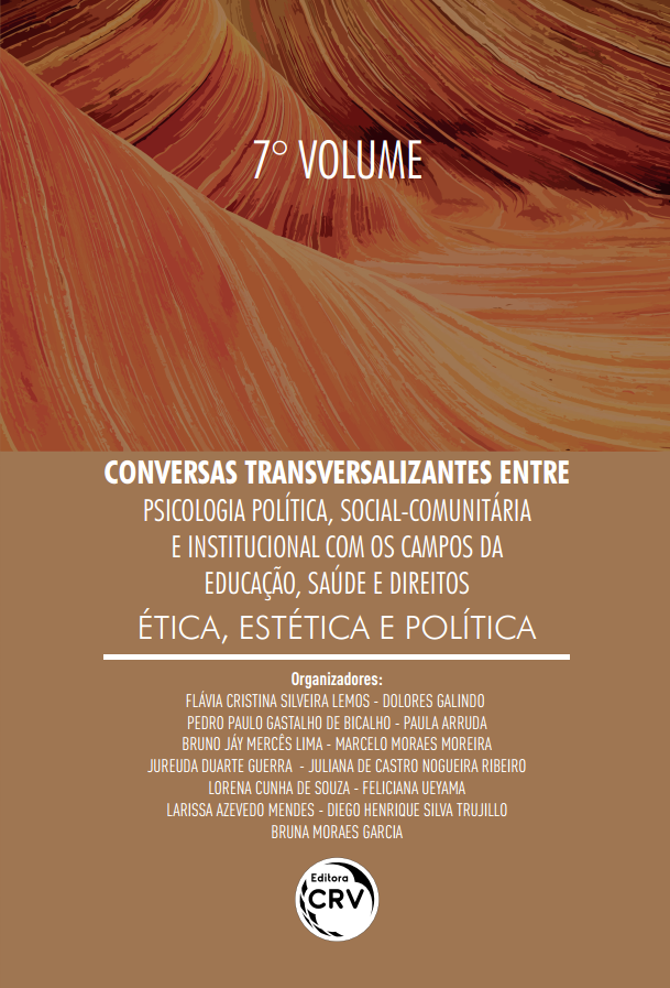 Capa do livro: CONVERSAS TRANSVERSALIZANTES ENTRE PSICOLOGIA POLÍTICA, SOCIAL-COMUNITÁRIA E INSTITUCIONAL COM OS CAMPOS DA EDUCAÇÃO, SAÚDE E DIREITOS – <BR>VOLUME 7